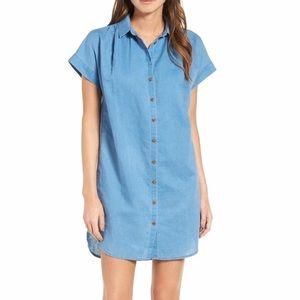 NEW Madewell Central Linen Blend Shirt Dress